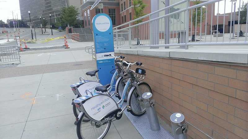 A bicycle rental station at Consol Energy Center.