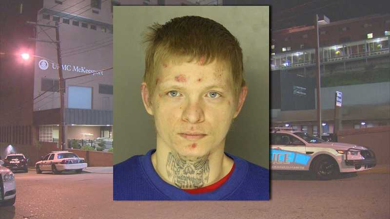 Police say Alexander Erb fled from UPMC McKeesport after he was arrested and taken to the hospital for treatment.