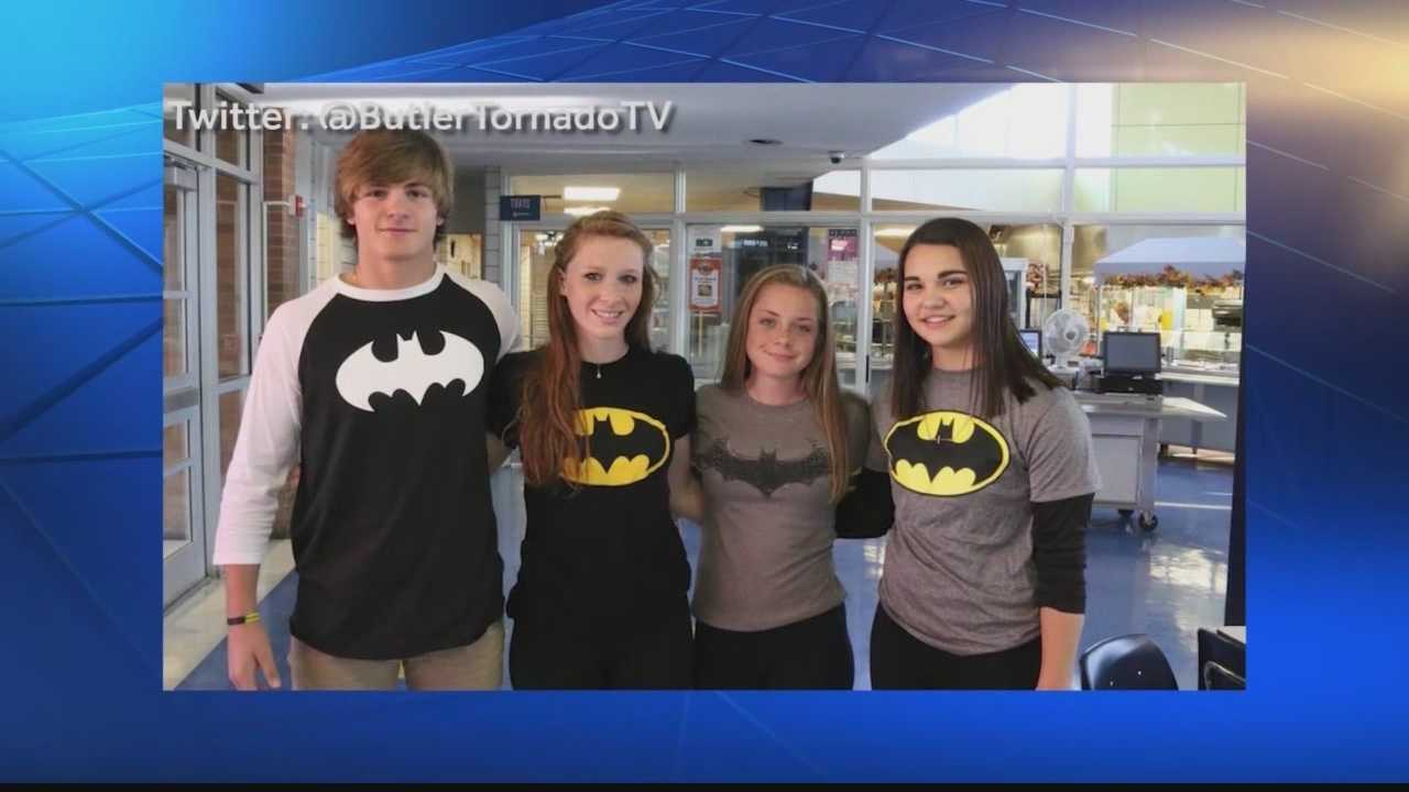 Students at Butler High School wore their Batman gear to class Monday to honor Ethan Linnon, 18, who died when his car went off the road and hit a tree.