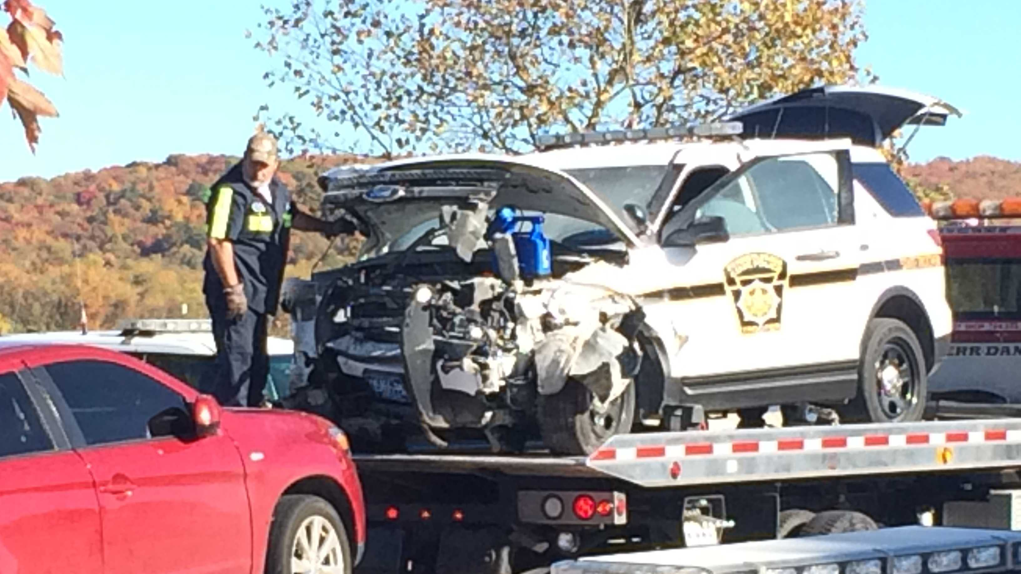 A police pursuit ended in a crash Friday afternoon in North Union Township. (Andy Cunningham)