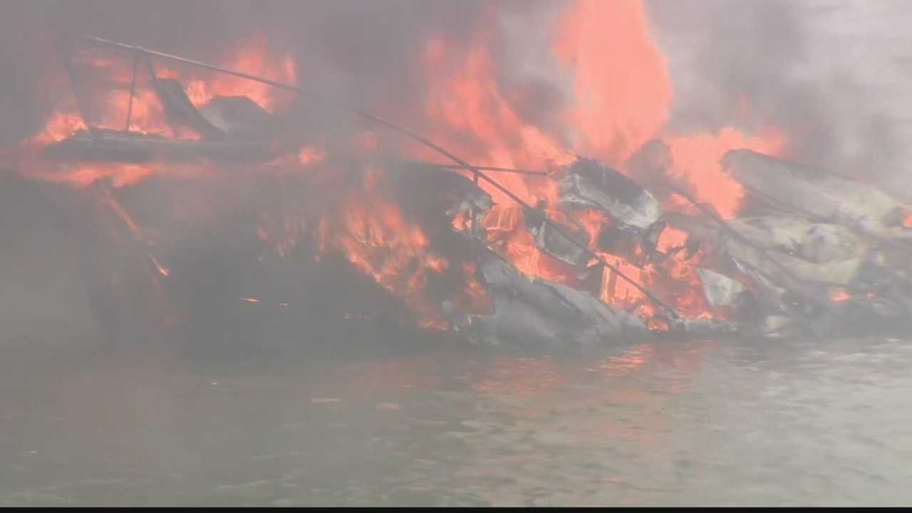 A boat caught fire near the West End Bridge on Saturday afternoon.