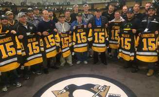 The Pittsburgh Penguins marked Veterans Day by inviting local veterans to practice and giving them jerseys personalized with their names.