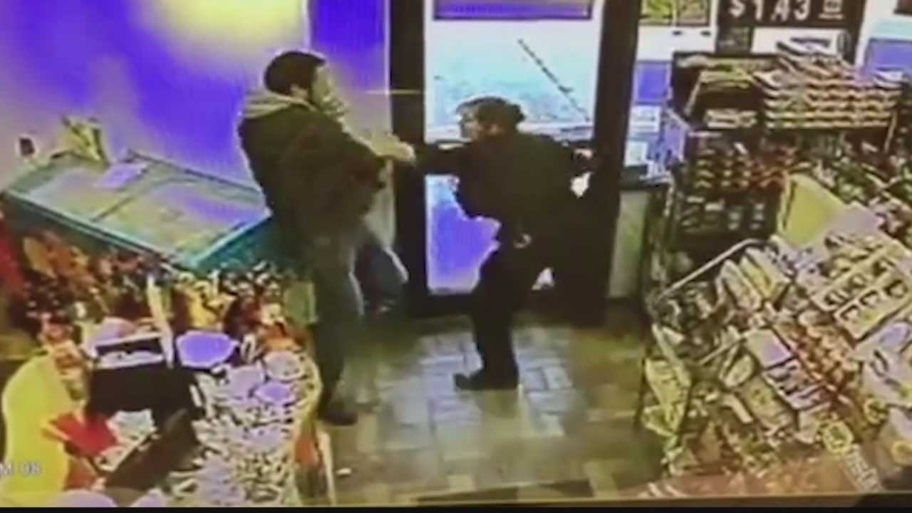 "Police have identified Matthew Fleeger as the man caught on security cameras trying to take an officers weapon inside a gas station saying, ""I need that."""