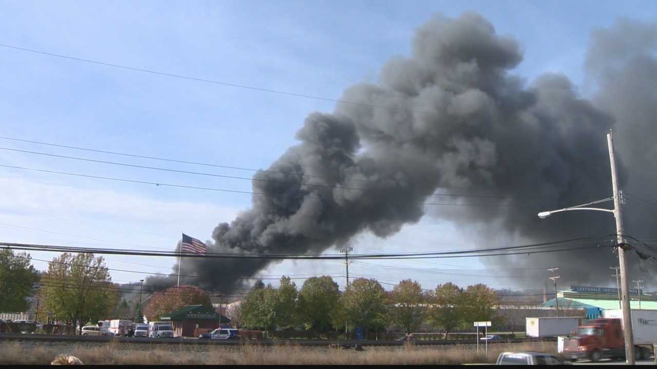 A fire at the Leetsdale Industrial Park that reached three alarms and prompted a hazmat response and local evacuations Tuesday morning is now being reported as mostly under control.