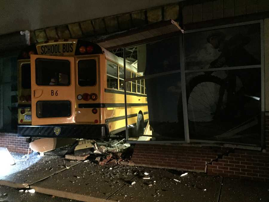 A stolen school bus crashed into a business on William Penn Highway in Monroeville early Thursday morning and in the process damaging another. The driver ran off after the bus crashed into The Vitamin Shoppe.