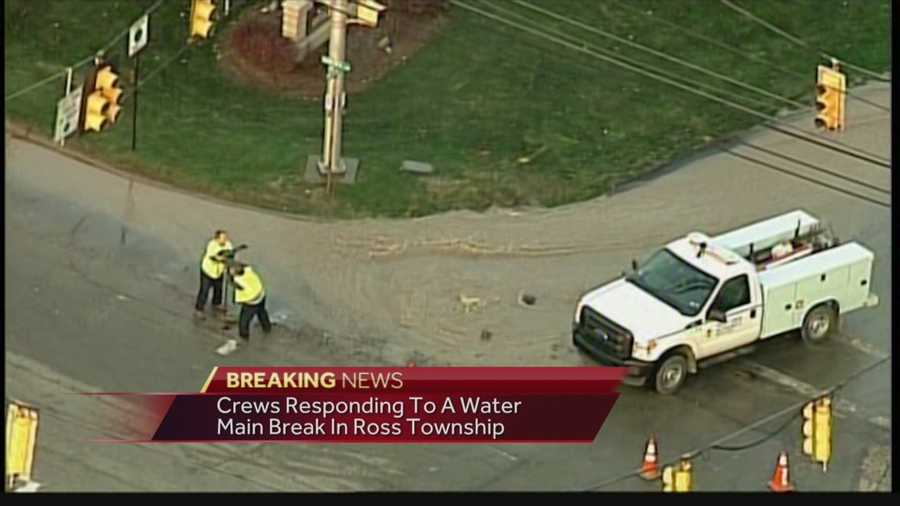Large water main break reported in Ross Township