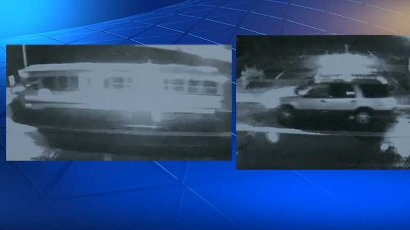 Surveillance images of the bus (left) and the second vehicle (right), described as possibly a Ford Explorer or Expedition.