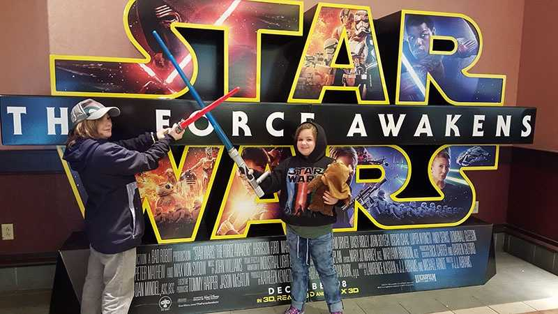 "Cole, 9, and Reese, 7, came out for the debut of the new ""Star Wars"" movie."