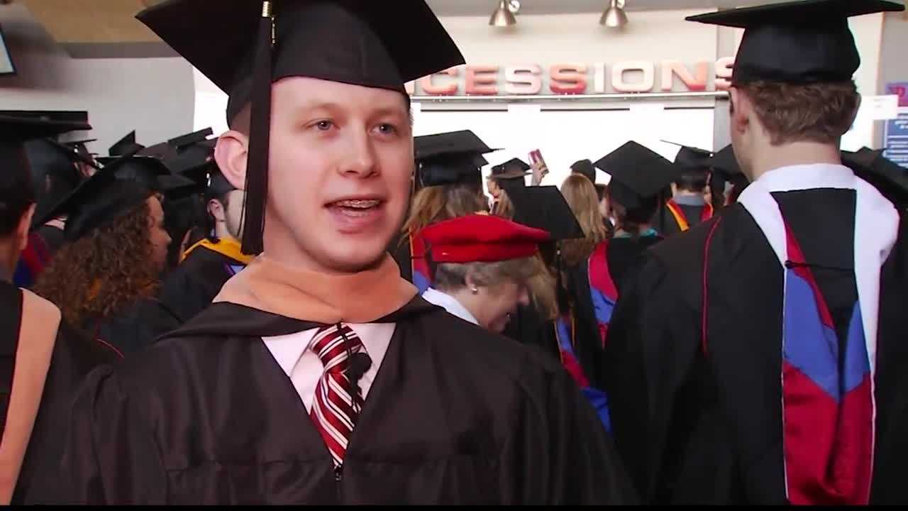 Sean Ferguson was struck by lightning in April, but finished his degree at the University of Dayton on Saturday.