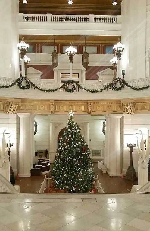 Senior centers throughout Pennsylvania made the ornaments and the tree came from Crystal Spring Tree Farm in Carbon County.