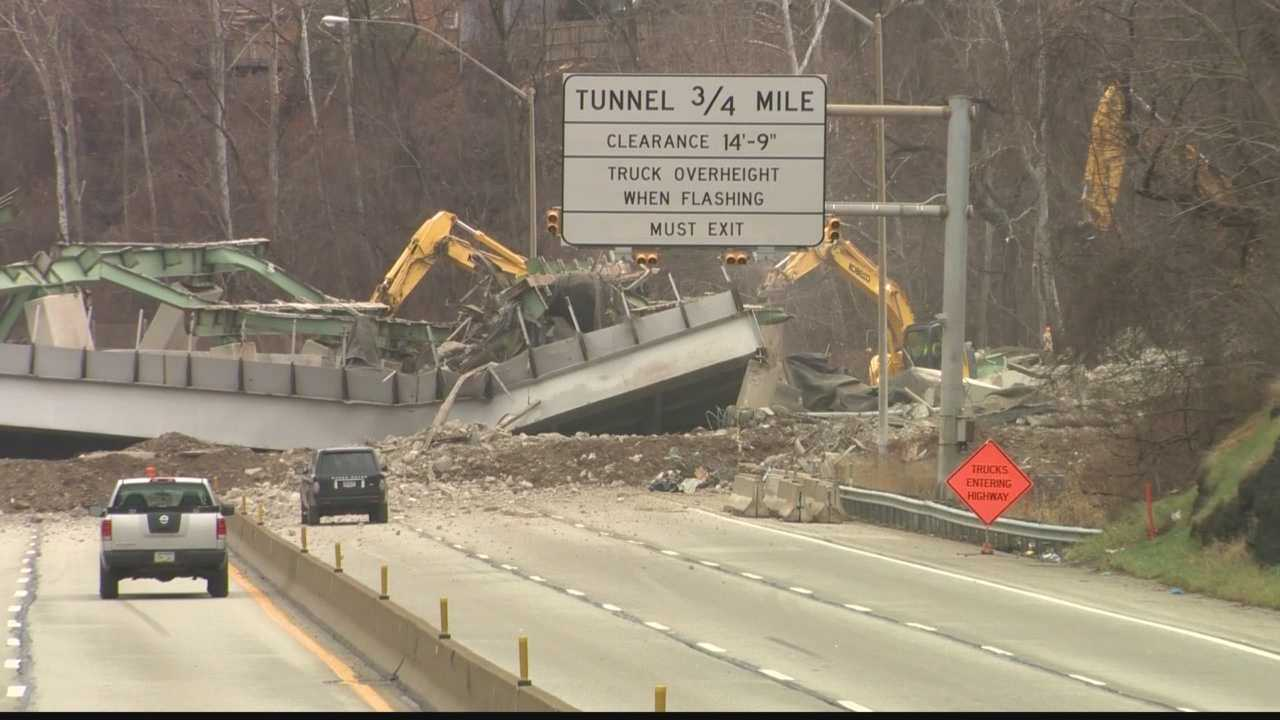 Rubble collapsed onto Interstate 376 in Pittsburgh when a blast brought down a bridge that had stood for nearly 100 years.