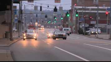 Traffic moves through downtown McKeesport.