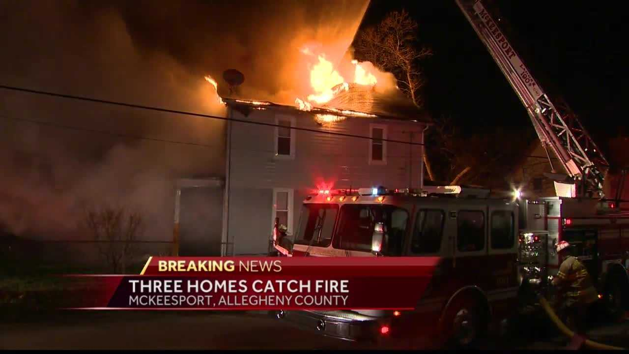 Crews worked to battle a fire in McKeesport Friday morning that spread to two other homes.