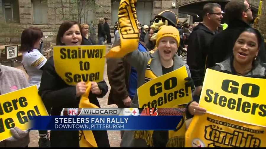Steelers fans had fun at a playoff rally Jan. 8 outside the Allegheny County Courthouse.
