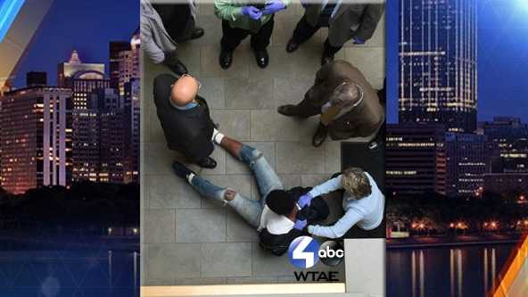 Darren Ramon White fell nearly 20 feet while allegedly trying to escape from Pittsburgh police headquarters.