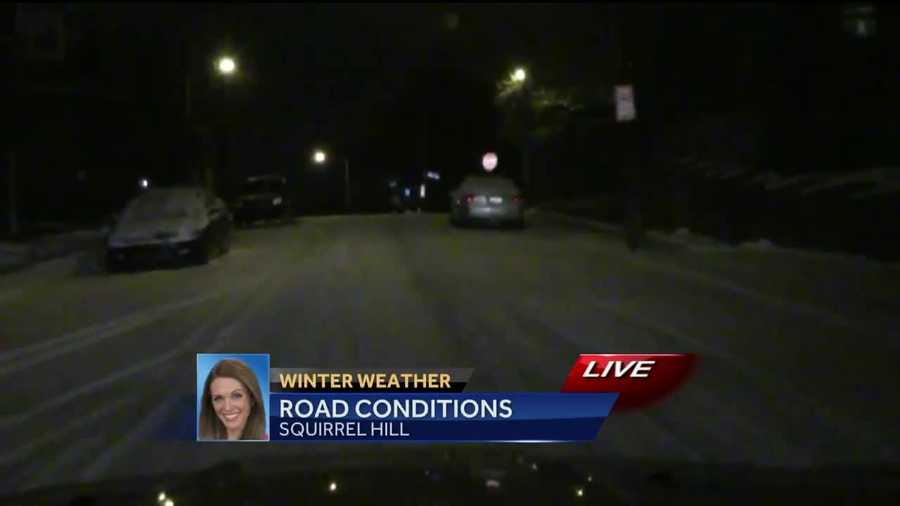 Thursday: Pittsburgh's Action News 4 reporter Katelyn Sykes hit the road at 4 a.m. to check road conditions after Wednesday's snowfall.