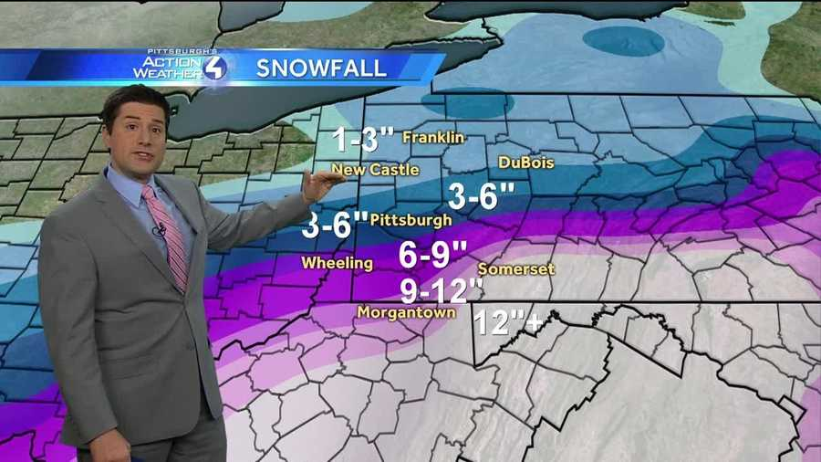Thursday: Pittsburgh's Action Weather meteorologist Steve McLaughlin with the early Nor'easter snow totals during the 4 a.m. newscast.