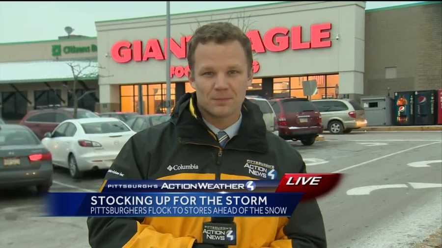 Thursday: Pittsburgh's Action News 4 reporter headed to the Giant Eagle in Edgewood to find out what shoppers were stocking up on before the snowstorm hit.