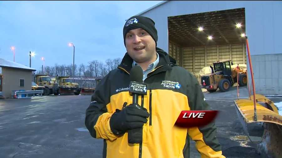 Thursday: Pittsburgh's Action Weather meteorologist Ray Petelin live in Monroeville at a PennDOT salt pile where he answered viewer questions about the Nor'easter.