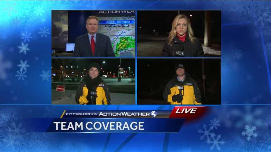Thursday: Chief Meteorologist Mike Harvey, reporter Kelly Brennan, reporter Marcie Cipriani and meteorologist Ray Petelin prepare for team coverage at 11 p.m.
