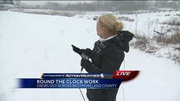 Friday: Reporter Ashlie Hardway live in East Huntington Township, Westmoreland County where snow had blanketed the area after just a couple of hours.