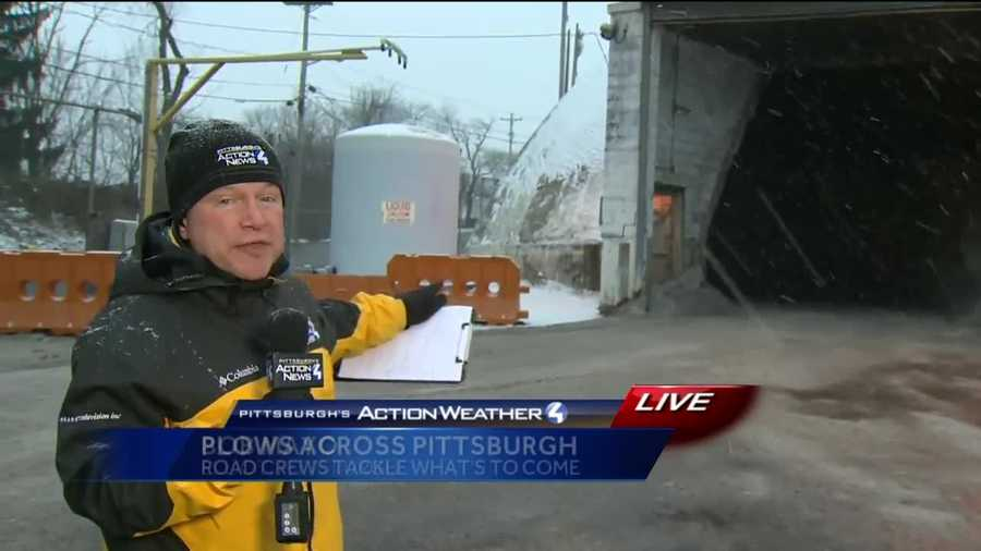 Friday: Pittsburgh's Action News 4 reporter Bob Mayo at a salt station in Pittsburgh's Elliot neighborhood where he spoke with Pittsburgh Public Works, who are operating on a Level 2 Snow Alert.
