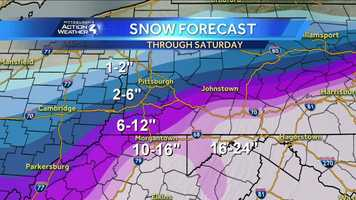 Friday: The latest snow totals through Saturday from the 5 p.m. forecast.