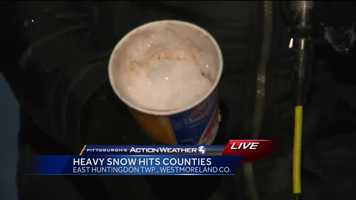 Friday: Reporter Ashlie Hardway give us an unscientific look at how much snow fell in Westmoreland County during her live shots.