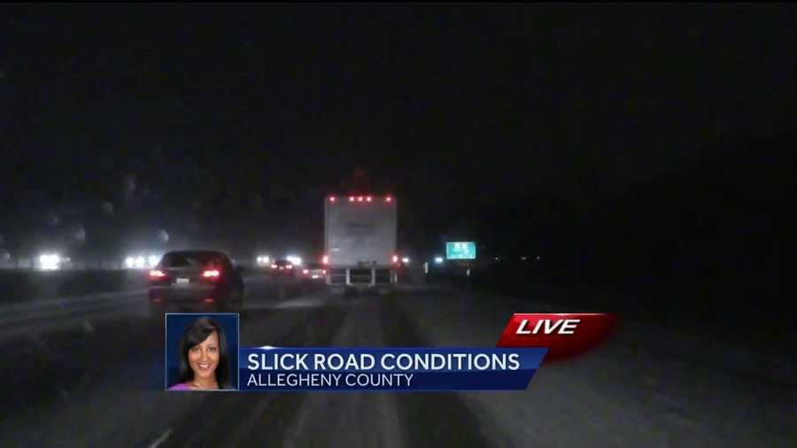 Friday: Reporter Bofta Yimam with a live look at the roads in Allegheny County as she drove back to Pittsburgh from Greene County.