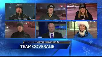 Pittsburgh's Action News 4 in position for live coverage at 11pm on Friday night.