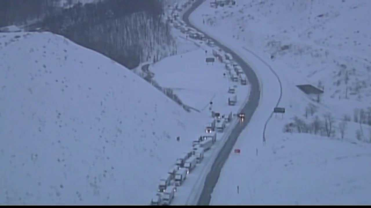 Hundreds of vehicles were stuck overnight on the Pennsylvania Turnpike in Somerset County during a snowstorm.
