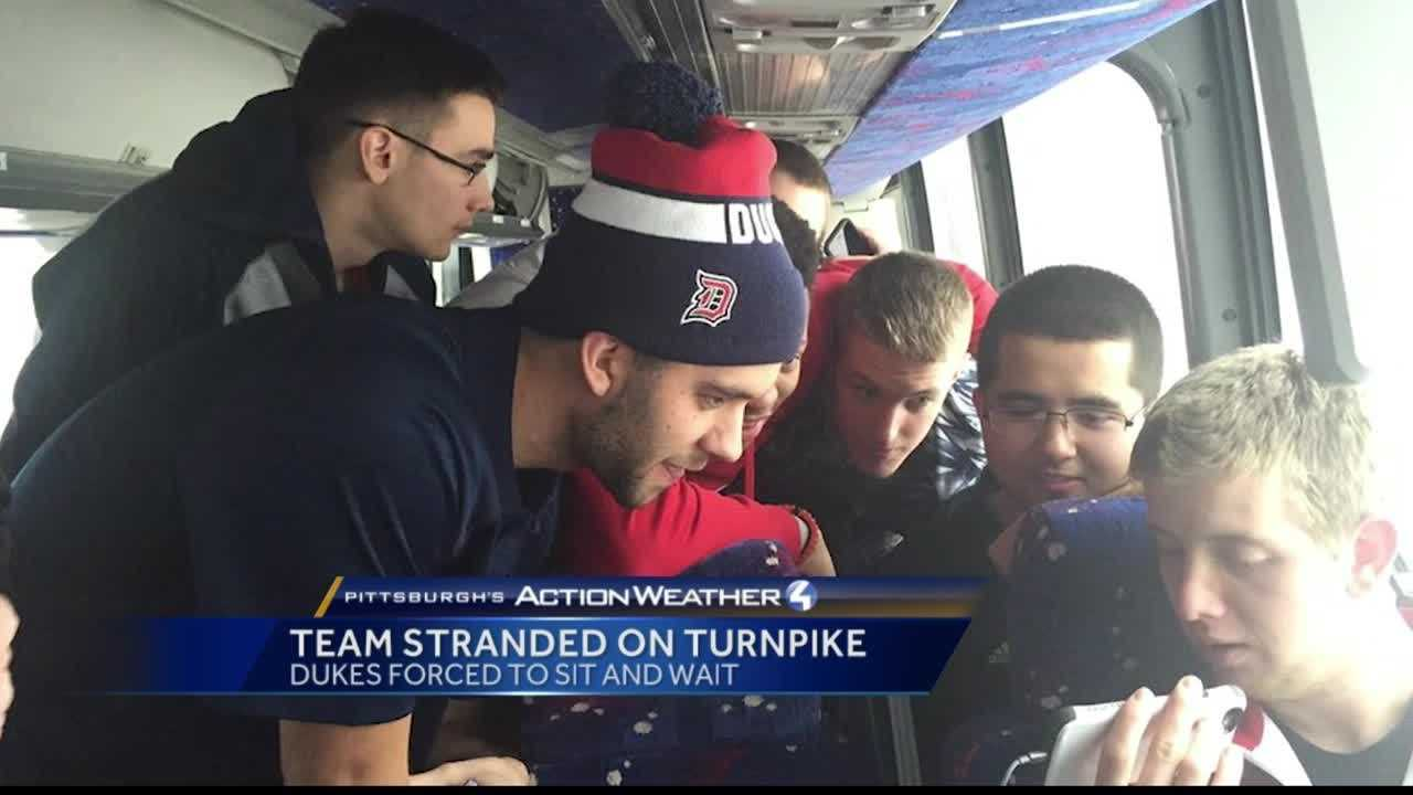 Pittsburgh's Action News 4's Ryan Recker's reports on the successful return of the Duquesne Men's basketball team after being trapped on the Pennsylvania Turnpike overnight for 22 hours.