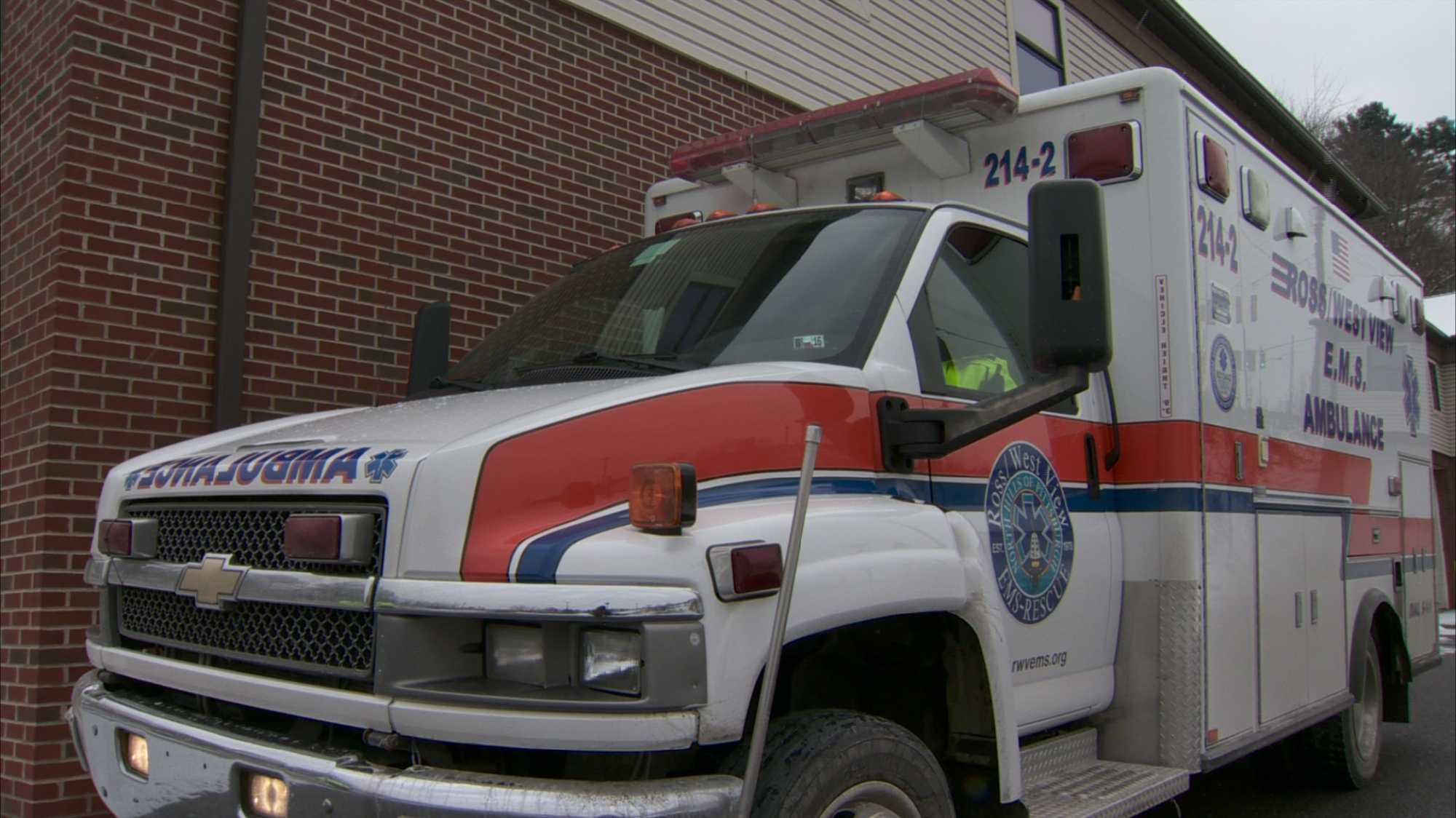 An ambulance from Ross/West View EMS.