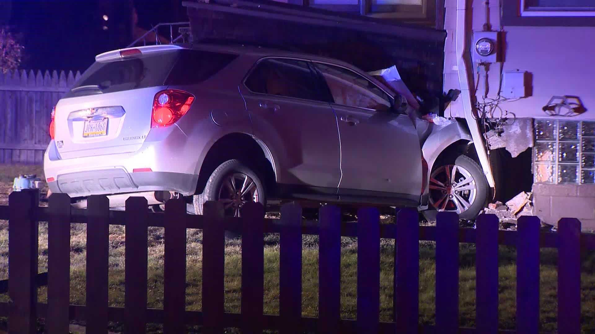 A car occupied by at least four juveniles crashed into a White Oak home Tuesday night, police said.