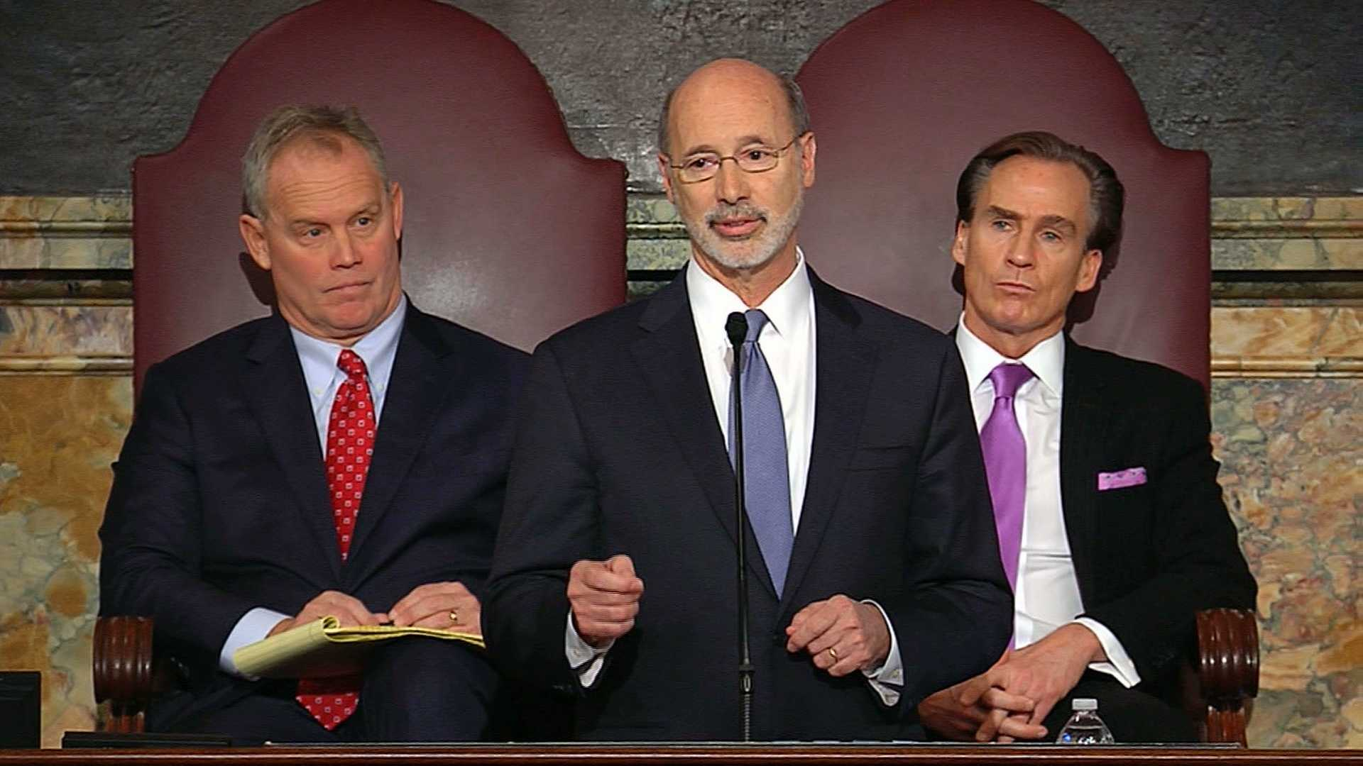 Gov. Tom Wolf (center), with House Speaker Mike Turzai (left) and Lt. Gov. Mike Stack (right).