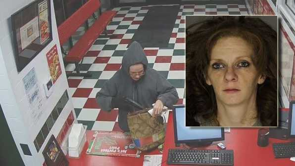 Police say this is a surveillance image of Melissa Santoro robbing Jet's Pizza in Dormont.
