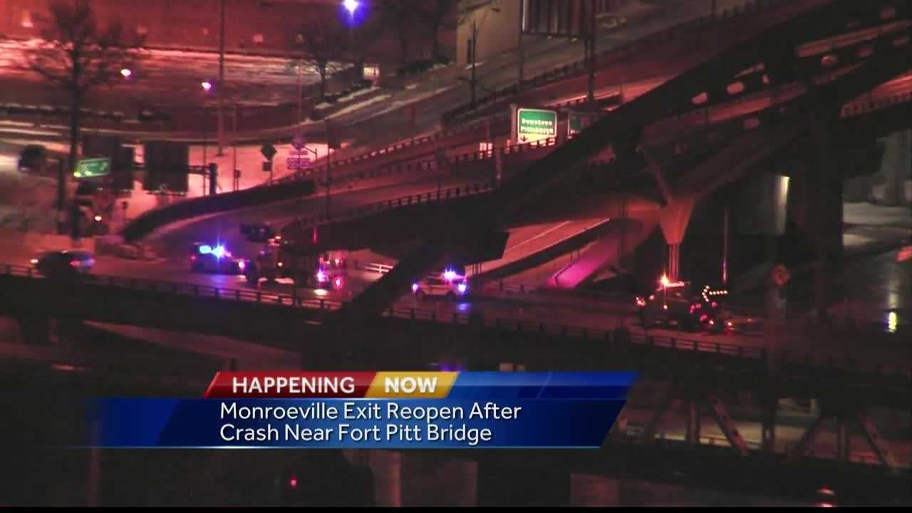 Police investigated a crash on the Fort Pitt Bridge early Sunday morning.