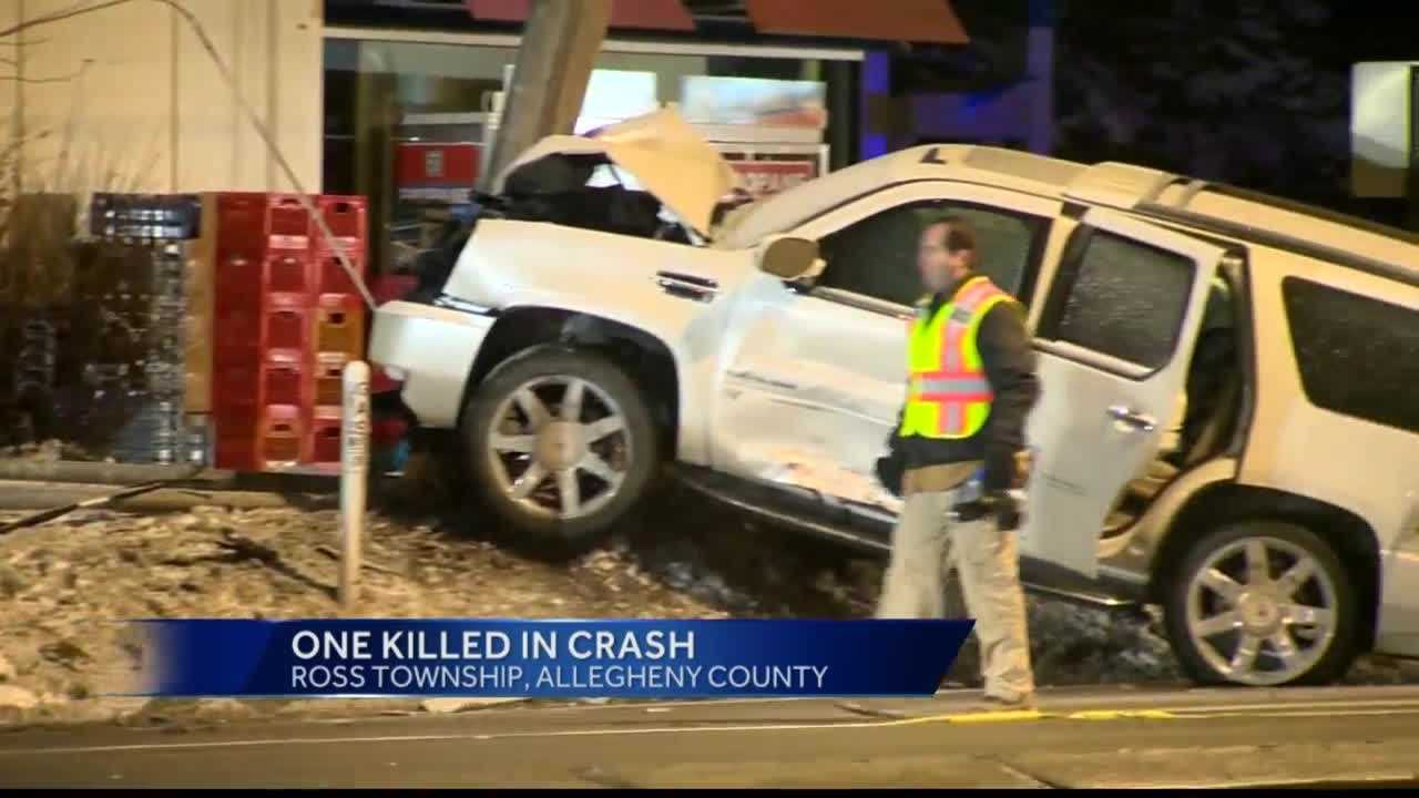 A man was killed in a two-vehicle crash Saturday night along McKnight Road in Ross Township.