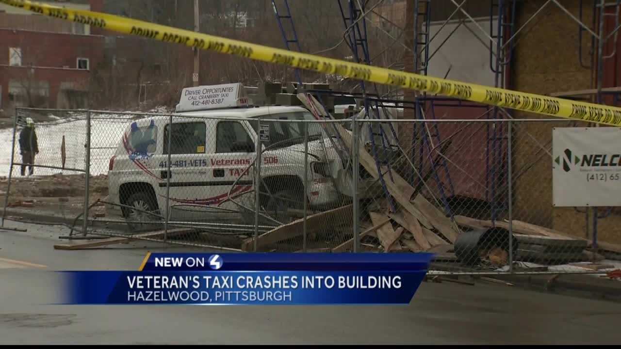 A Veteran's taxi hit a building in Pittsburgh's Hazelwood neighborhood Monday morning.