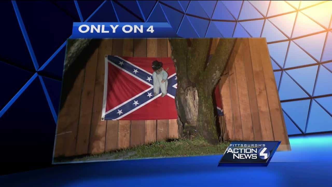 An African-American baby doll hanging in a noose, knife in its back, framed by a Confederate flag. Residents in one East Huntingdon Township neighborhood call the display racist and want to keep their kids away from it.