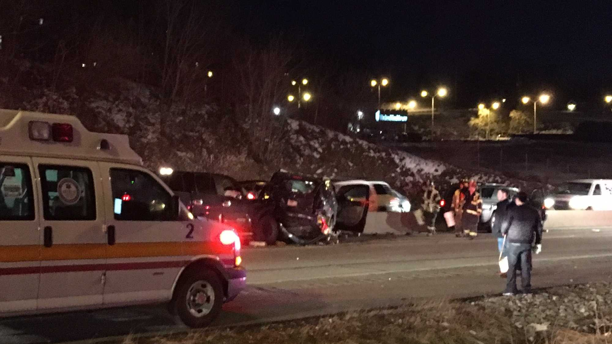 A three-vehicle crash has shutdown part of the Parkway East inbound Thursday night.