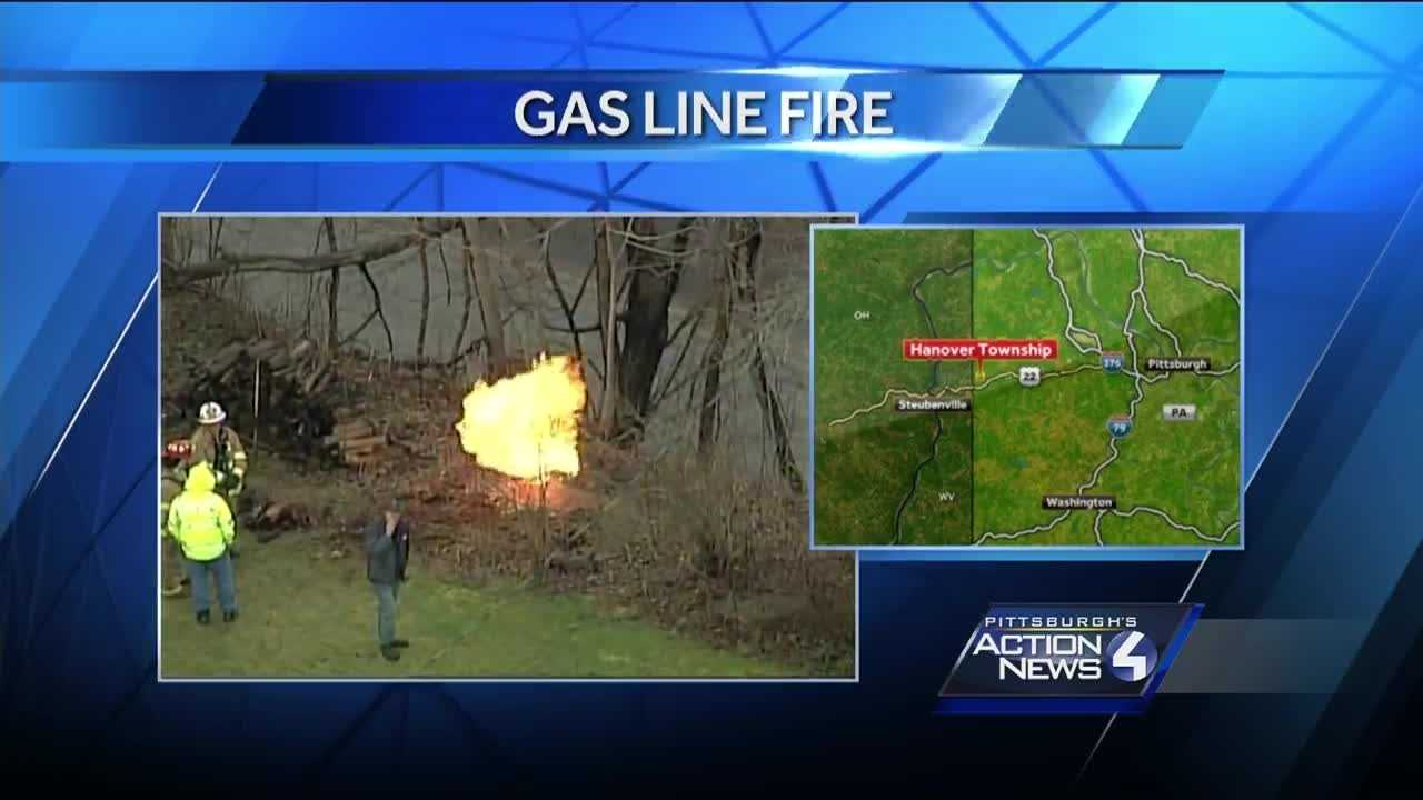 Crews were on the scene of a gas line fire in Hanover Township, Washington County Wednesday morning.