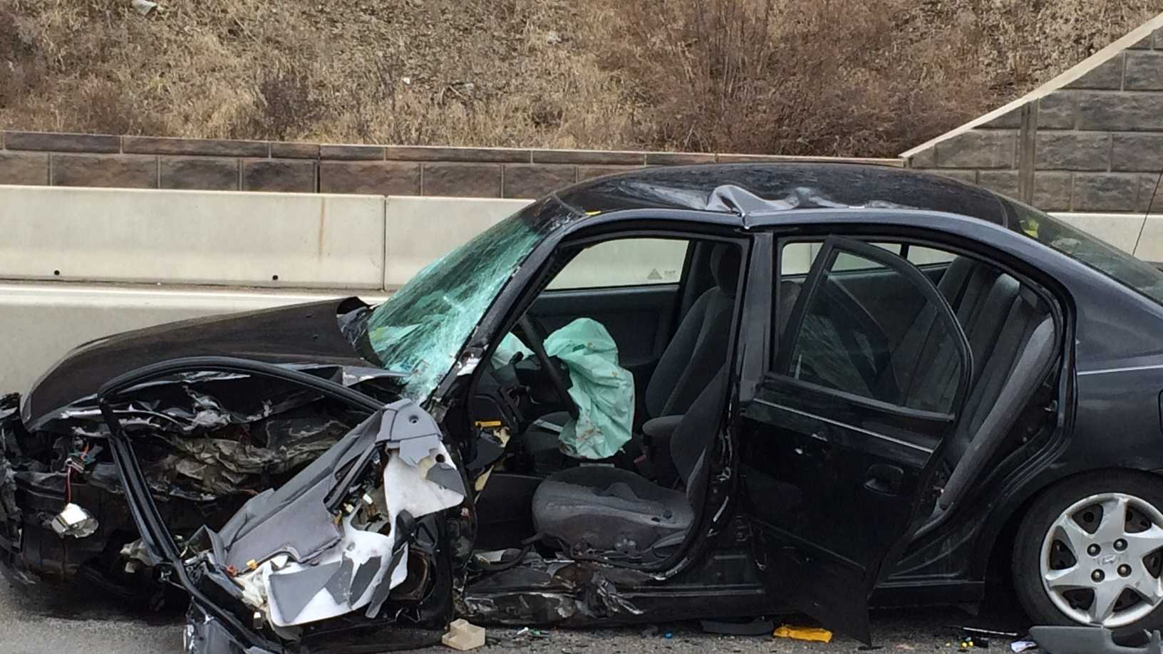 A portion of state Route 28 is closed after a two-vehicle accident.