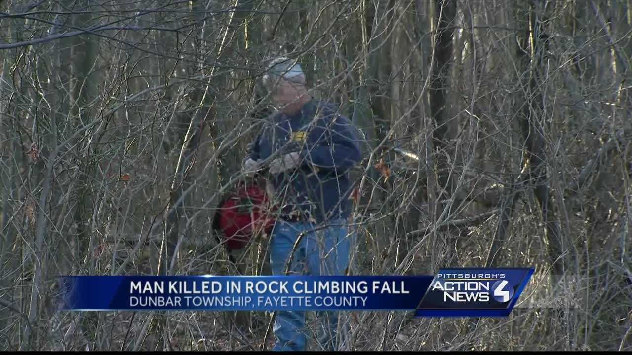 A man died after he fell while rock climbing in Dunbar Township Sunday afternoon.