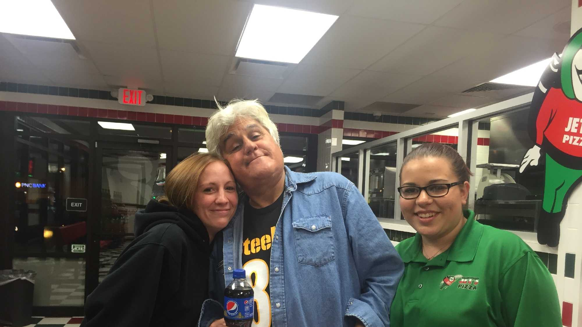 Jet's Pizza Manager JoAnn Liebro (left) and crew member Bryanna Zembroski (right) pose with Jay Leno in a photo provided by the restaurant.