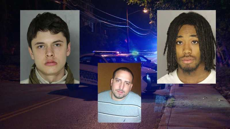 Police say Lucas Guggenheimer (left) and Amirae Benton (right) are charged in the death of Justin Granda (below, middle).