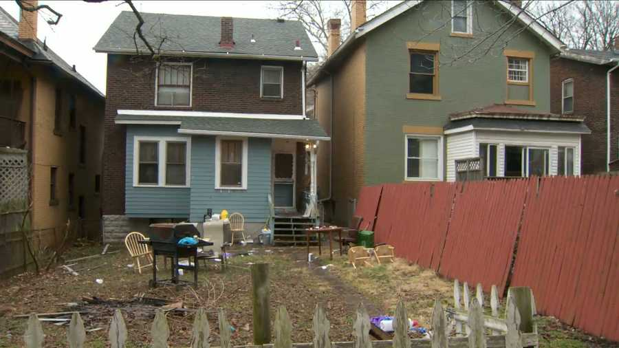 The scene of a backyard party where five people -- including a pregnant woman -- were killed and three more were injured on Franklin Avenue in Wilkinsburg.