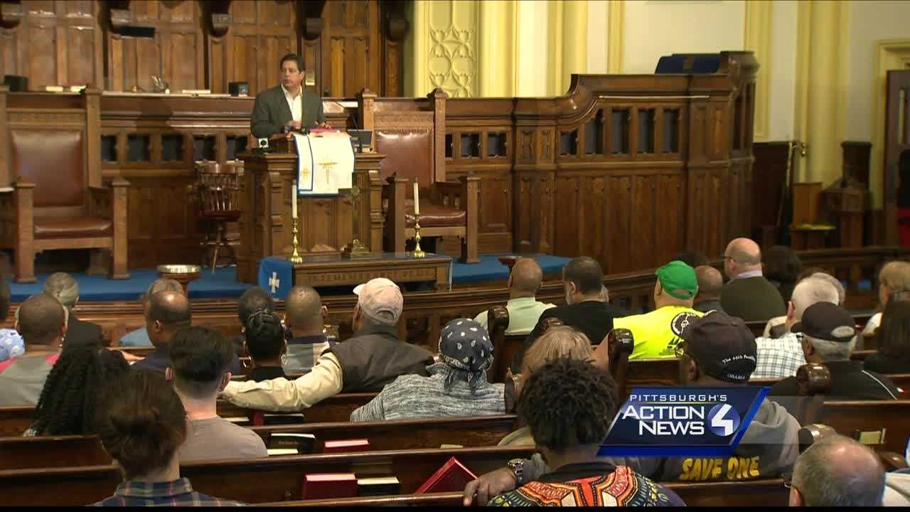 A community in grief was not somber Saturday as the Wilkinsburg community came together to discuss the problems of violence following Wednesday's backyard ambush shooting.