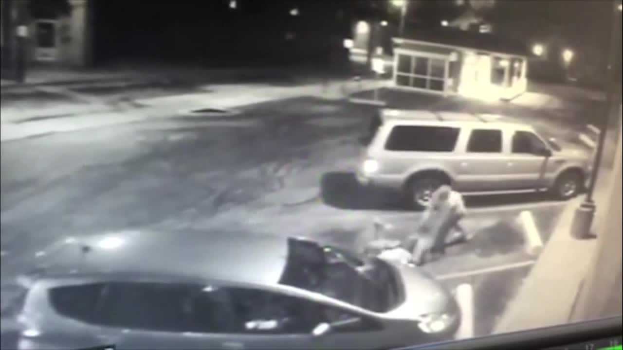 Prosecutors say this surveillance video shows Donald Rozman being beaten by Michael Parry and Gary Wilkinson.