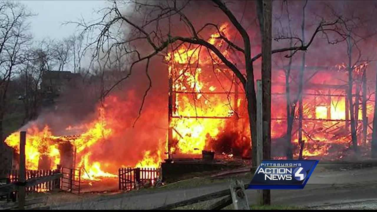 A horse barn was destroyed by fire early Sunday morning in South Park Township.